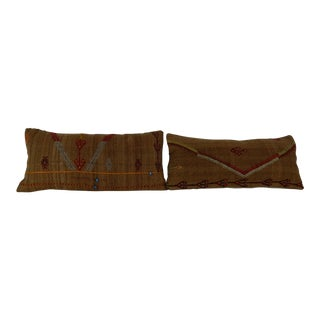Turkish Kilim Lumbar Pillow - a Pair For Sale