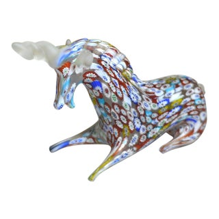 Millefiori Art Glass Unicorn Figurine