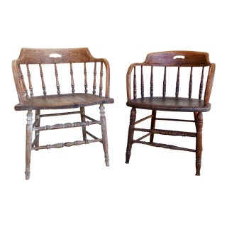 Antique Mismatched Rustic Saloon Chairs - a Pair