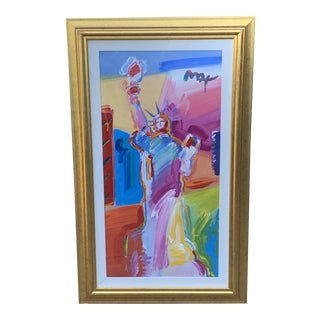 "Peter Max Original Acrylic and Mixed Media Painting ""Statue of Liberty"" For Sale"