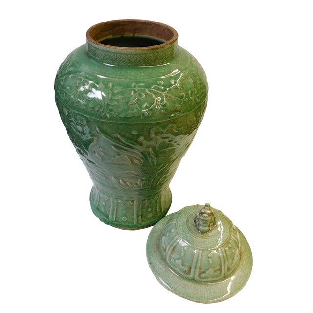 Chinese Crackle Celadon Green Temple Jar - Image 6 of 8