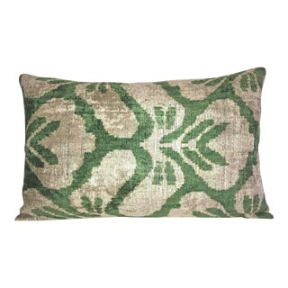 Green and Cream Silk Velvet Accent Pillow