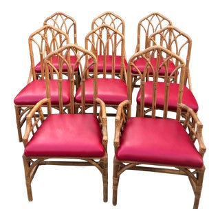 1980s Vintage McGuire Gothic Bamboo Dining Chairs - Set of 8 For Sale