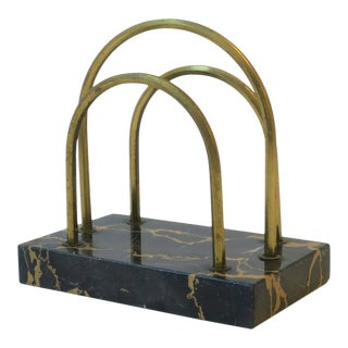 French Art Deco Black Marble and Brass Desk Letter Holder For Sale