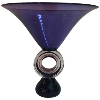 Art Italian Glass Amethyst Pedestal Bowl For Sale