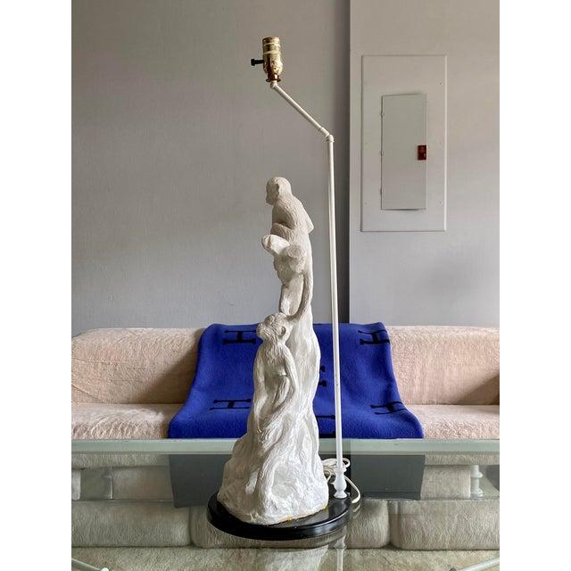 Tony Duquette Vintage White Palm Beach Monkey Lamp For Sale - Image 4 of 11
