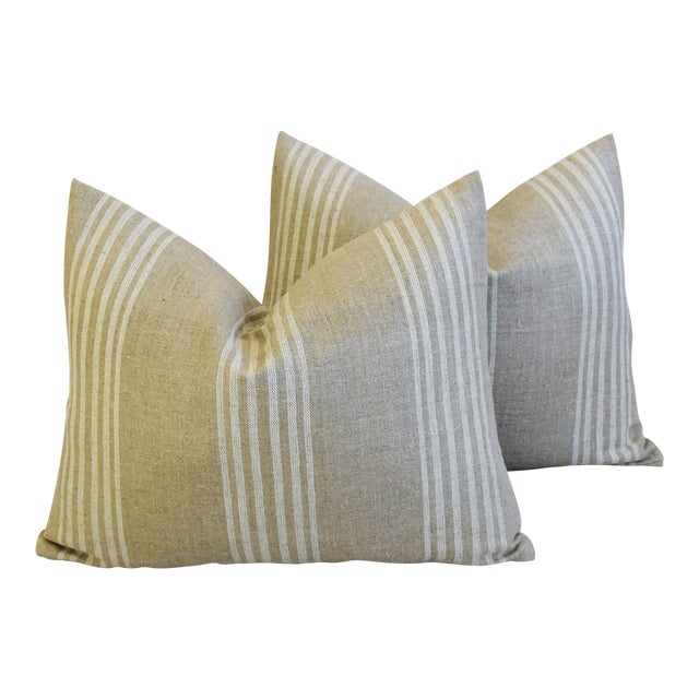 """Tan & White French Cotton & Linen Ticking Feather/Down Pillows 21"""" X 16"""" - Pair For Sale"""