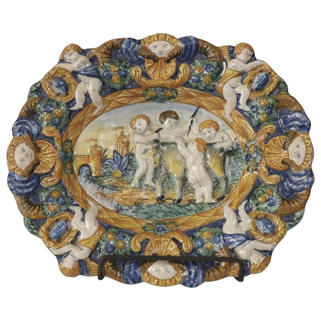 Blue Early Style Decorative Plate For Sale - Image 8 of 8