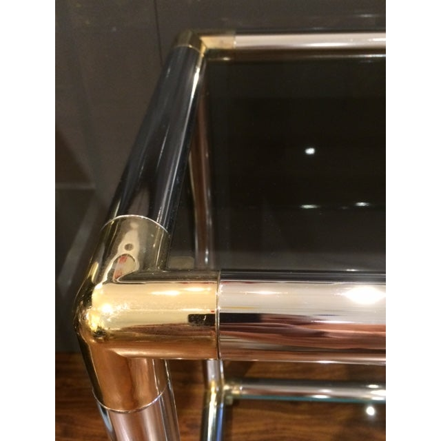 Mid-Century Modern Vintage Chrome and Brass Tubular Console Table For Sale - Image 3 of 4
