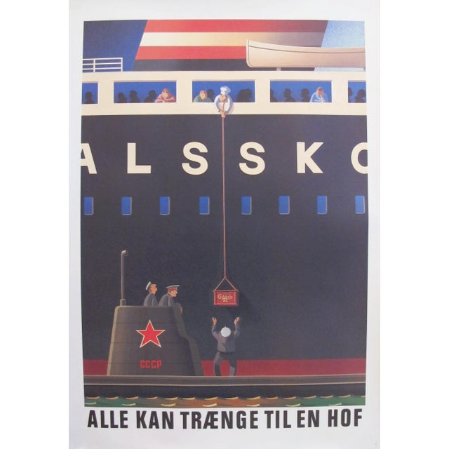 Original 1980's Danish Design Poster, Russian Submariners For Sale - Image 4 of 4