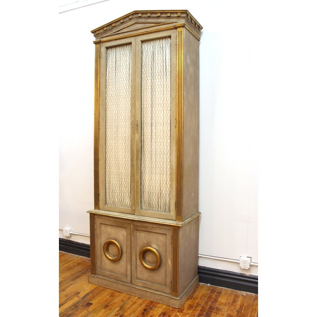 Monumental Neoclassical Revival Style Pedimented Wood Cabinets - a Pair For Sale - Image 11 of 13