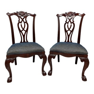 Century Mahogany Chippendale Ball in Claw Dining Side Chairs - Pair For Sale