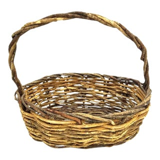 Vintage Rustic Willow Woven Branch Twig Basket For Sale