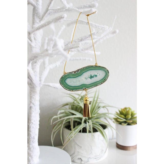 Modern Boho Green Agate Holiday Ornaments - A Pair - Image 6 of 6