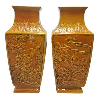 Chinese Export Four Seasons Vases - a Pair