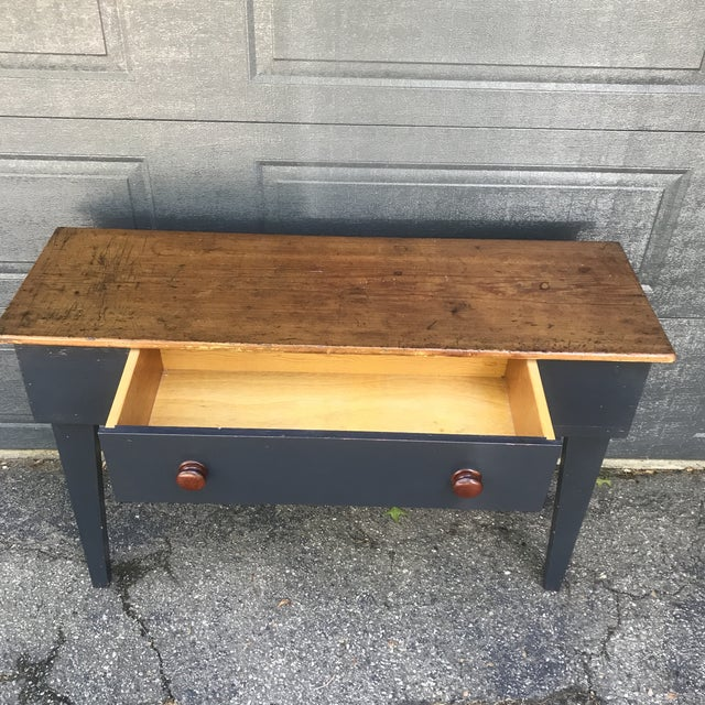 Primitive Navy & Butcher Block Top Console / Island For Sale - Image 4 of 10