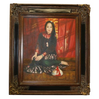 Chinese Oil Painting in the Style of Chen Yifei For Sale