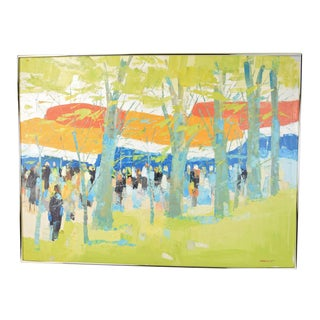 Vintage Mid-Century Modern Italo Botti Barrel Gathering in the Woods Abstract Oil Painting For Sale