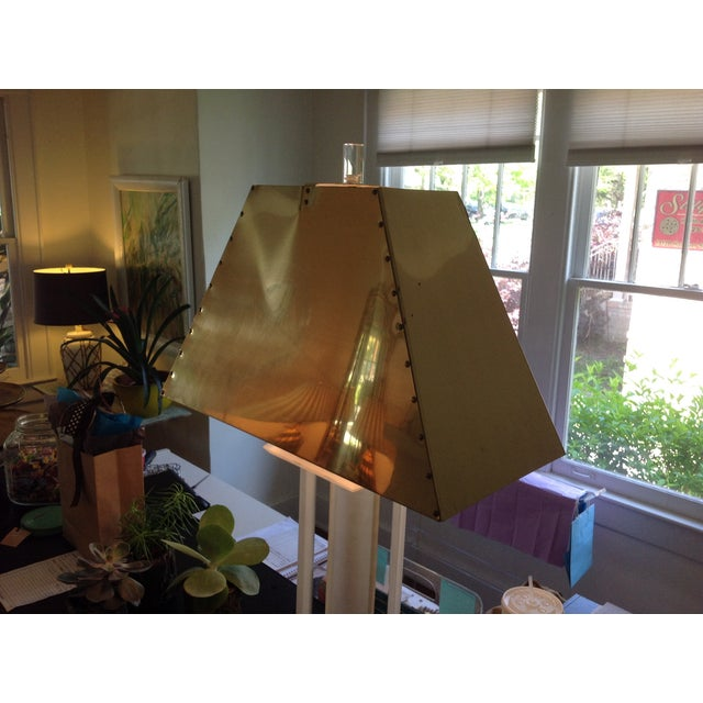 Vintage Lucite Lamp with Brass Shade For Sale - Image 4 of 5