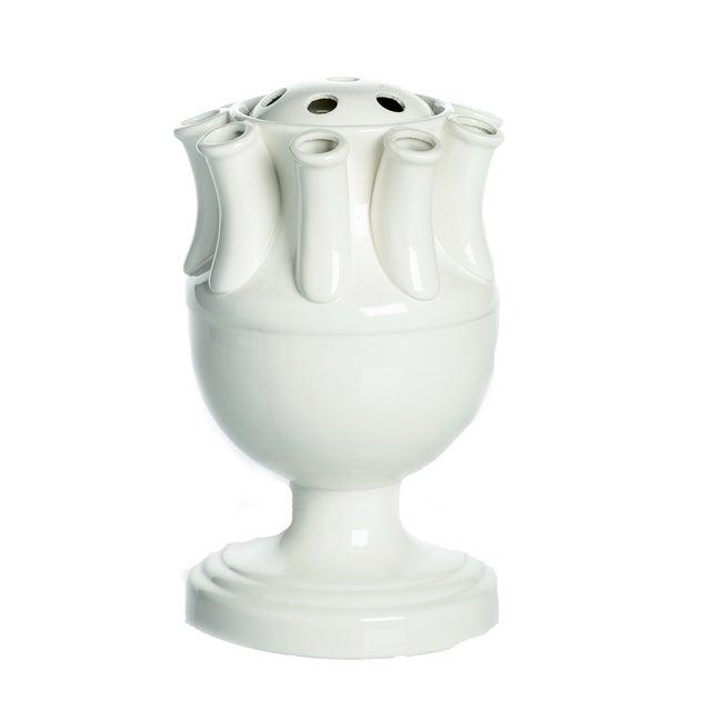 Contemporary Tulipiere, White Ceramic For Sale - Image 3 of 3