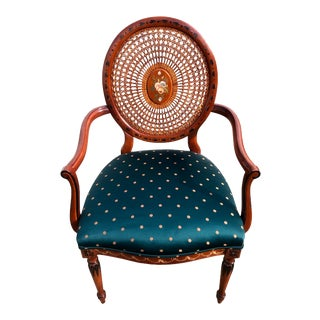 Vintage Handpainted Sheraton Style Oval Cane Back Arm Chair For Sale