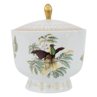 Vintage Mottahedeh Bird of Paradise Lidded Jar For Sale