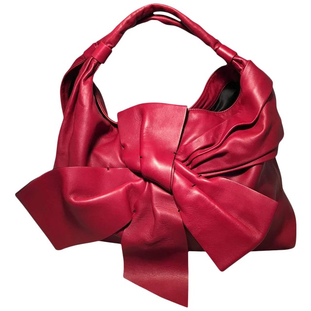 Valentino Red Leather Bow Front Hobo Shoulder Bag For Sale