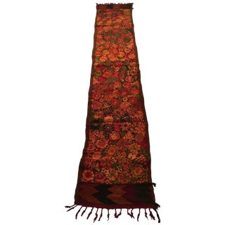 Italian Matyo Silk and Wool Embroidered Textile Table Runner For Sale