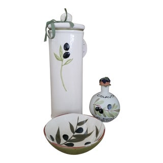 Olive Decorated Italian Functional Pottery Pieces - 3 Pc. Set For Sale
