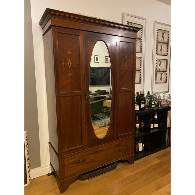Brown Late 19th Century Edwardian Wardrobe Cabinet With Mirror and Mother of Pearl Inlays For Sale - Image 8 of 8