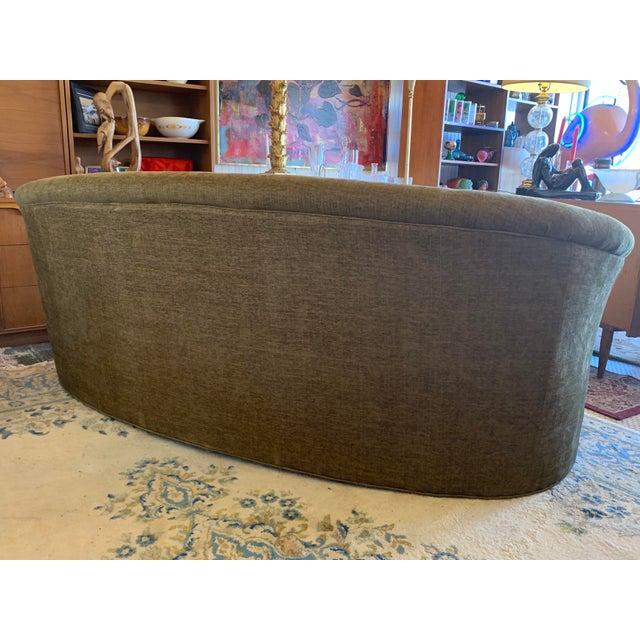 Green Drexel Heritage Kidney Shape Olive-Green Curved Sofa For Sale - Image 8 of 12