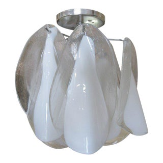 Mazzega Hand Blown Murano Petal Chandelier For Sale