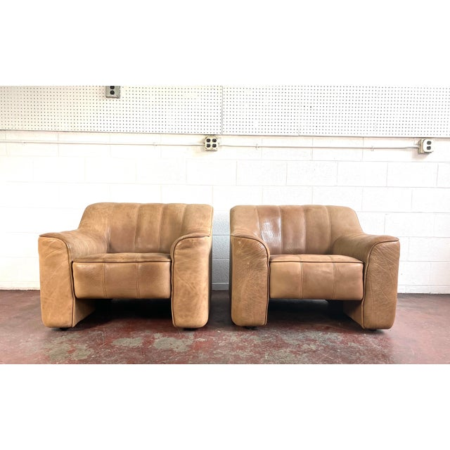 1970s De Sede Leather Lounge Chairs Model Ds 44 - a Pair For Sale - Image 5 of 8