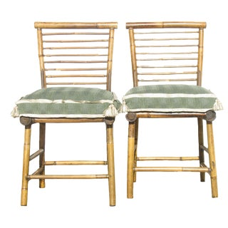 Natural Bamboo Side Chairs W/ Custom Cushions, Pair For Sale