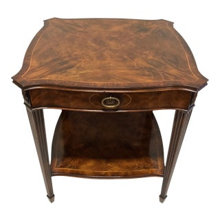 Maitland Smith for Colony Furniture Aged Mahogany Inlaid Regency End Accent Table 2 For Sale