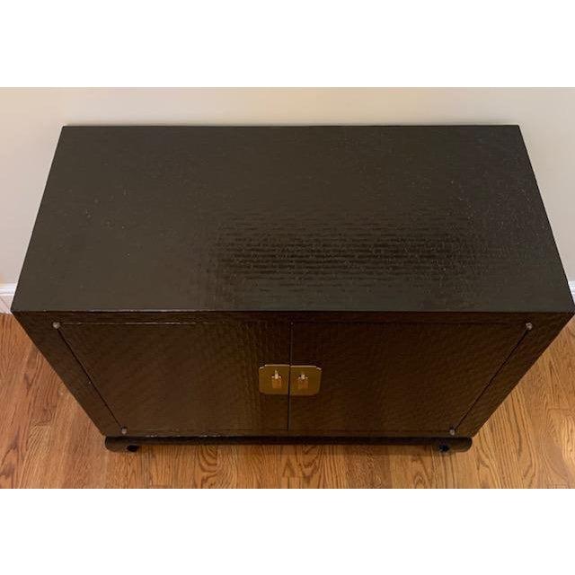 Black Baker Grasscloth Black Lacquered Ming Cabinet For Sale - Image 8 of 10