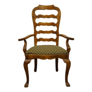 Century Furniture Antiqued Maple Rustic Country Style Ladderback Dining Arm Chair For Sale