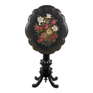 19th C. Victorian Floral Papier Mâché Oval Tilt-Top Table