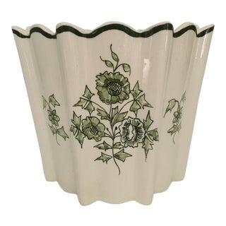 Mid Century Modern White and Green Floral Cache Pot From Portugal For Sale