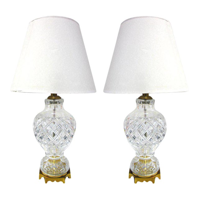 Pair of Cut Crystal and Brass Lamps For Sale