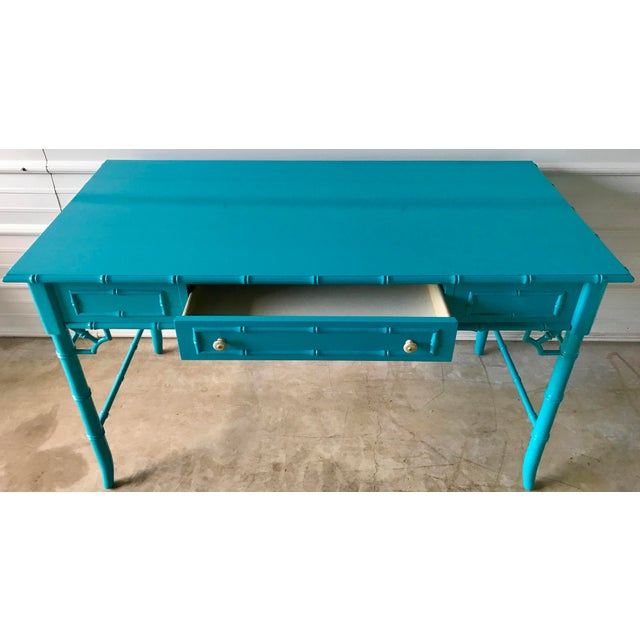 Paint Thomasville Lacquered Faux Bamboo Desk For Sale - Image 7 of 10