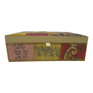 Embroidered Indian Artisanal Jewelry Box With Mirror For Sale