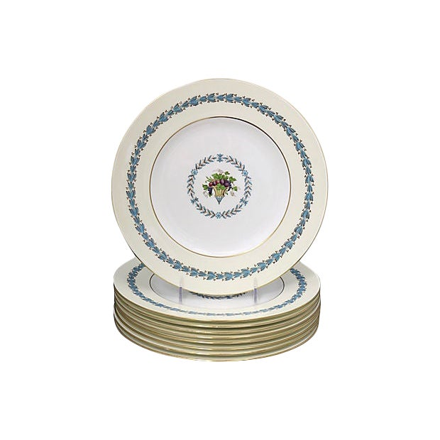 Wedgwood Floral Dinner Plates, S/8 For Sale