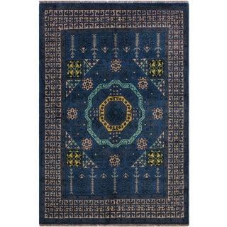 "Balouchi Alejandr Blue/Ivory Wool Rug - 4'11"" X 6'7"" For Sale"