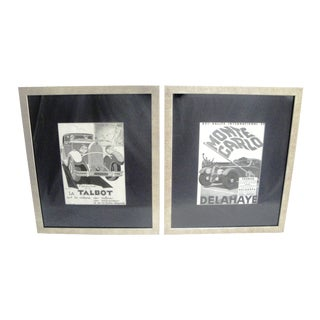 """Framed 1930s French Advertising """"Autos"""" Prints - A Pair"""