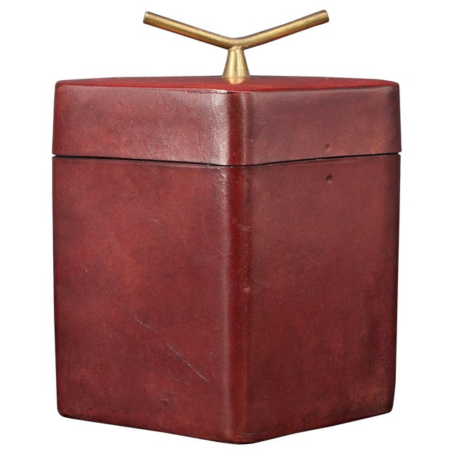 Brass Handled Red Leather Trinket Box Lid ScaccoMatto Italy Midcentury Regency For Sale