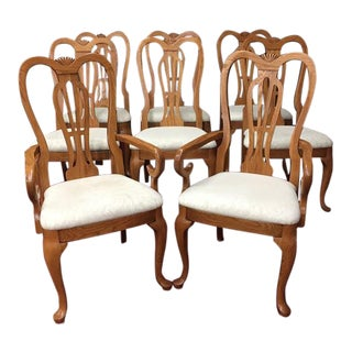 1990s Vintage Pennsylvania House Oak Dining Chairs - Set of 8 For Sale