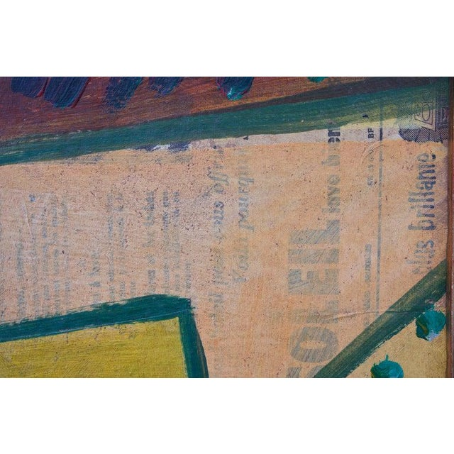 1956 Cubist Guitar Mixed Medium on Board Painting by Jean Lacoste For Sale - Image 4 of 8