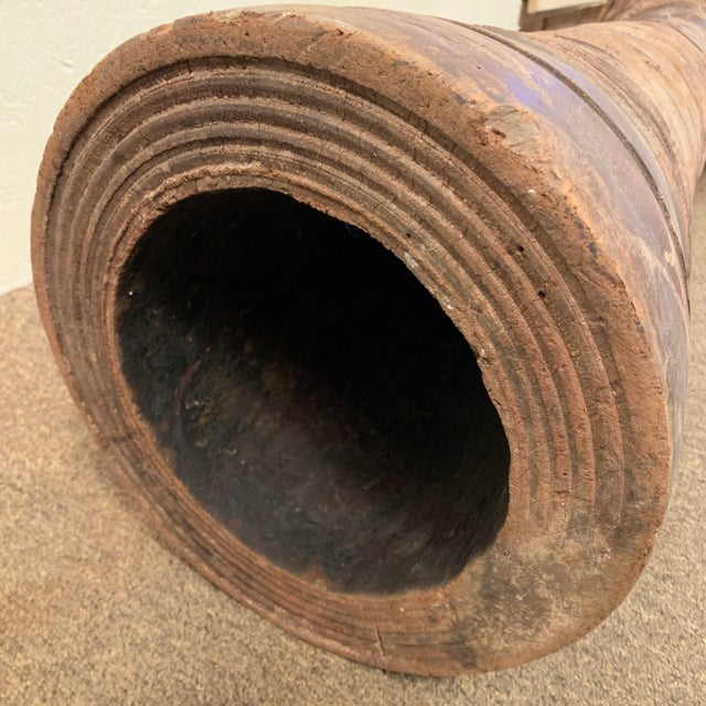Antique Hand Carved Teak Drum From Thailand For Sale - Image 9 of 12
