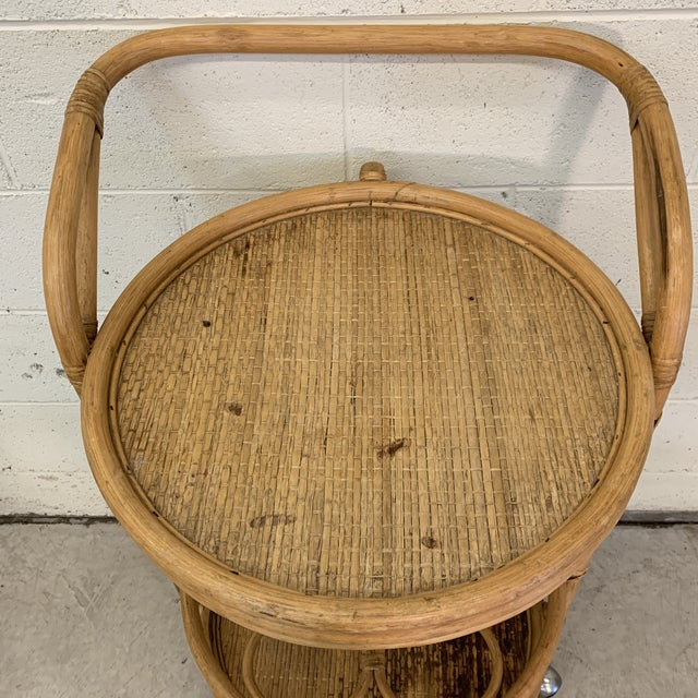 Vintage Bamboo Bar Cart on Casters For Sale - Image 11 of 12